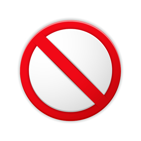 Blank prohibited sign with shadow, vector eps10 illustration
