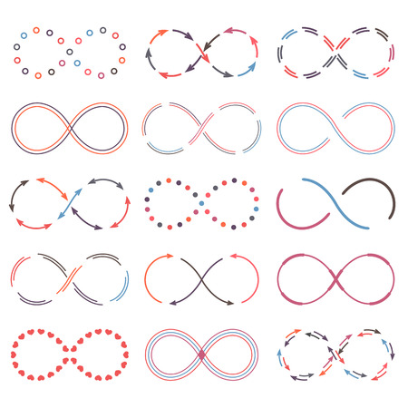Set of different infinity symbols, vector eps10 illustration Vector