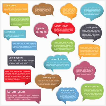 Colored speech bubbles with shadows, vector eps10 illustration