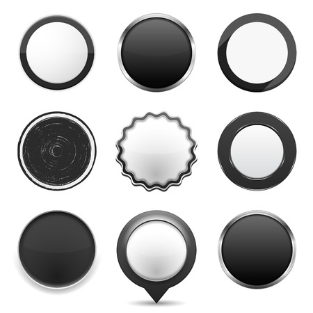 Set of different black buttons on white background Vector