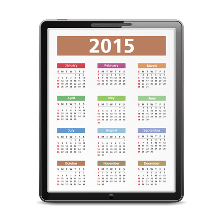 2015 Calendar on the screen of tablet pc Vector