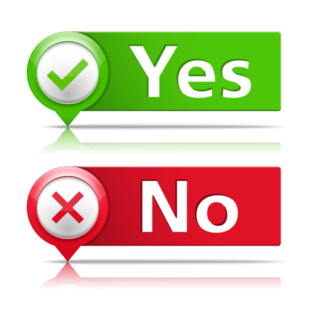 yes or no: Yes and no banners with check and cross symbols