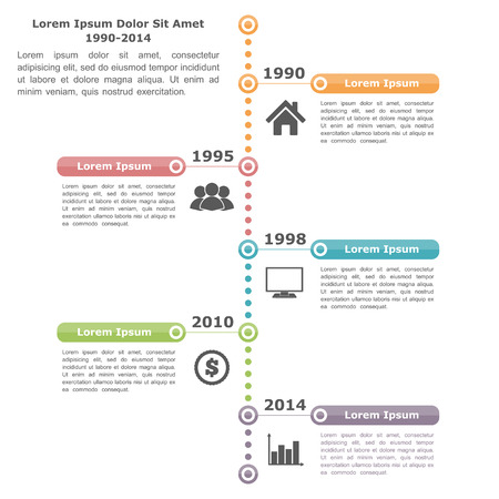 lineas verticales: Infografía Timeline plantilla de diseño