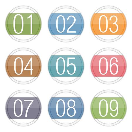 nombres: Num�ros 1 - 9 dans les milieux Illustration