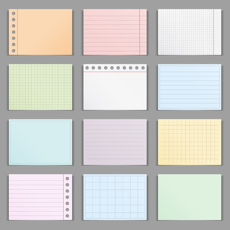 Blank colored paper sheets with shadows