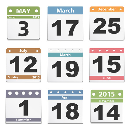 Different calendar pages on white background, vector eps10 illustration Vector