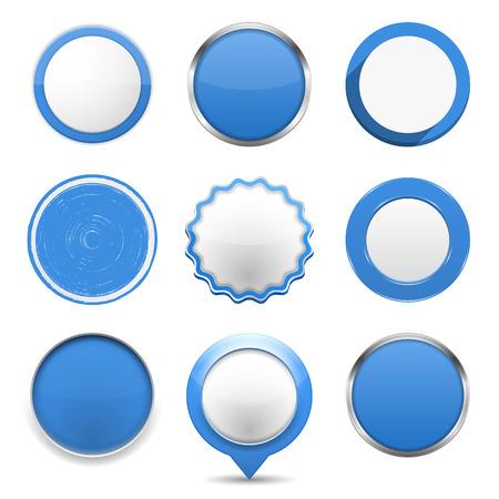 marcos redondos: Conjunto de botones redondos azules sobre fondo blanco