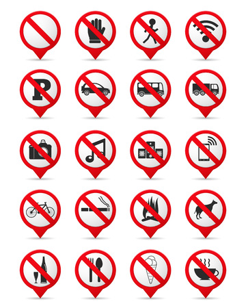 Set of prohibition signs as map markers, vector eps10 illustration Vector