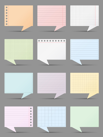 bubble background: Colored paper speech bubbles, vector eps10 illustration