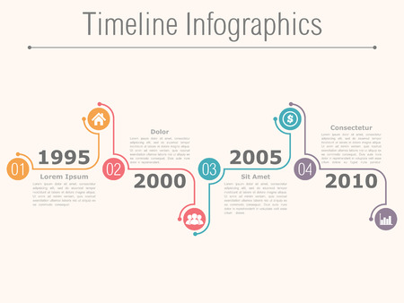 eps10: Timeline infographics design template with numbers, icons, dates and place for your text, vector eps10 illustration Illustration