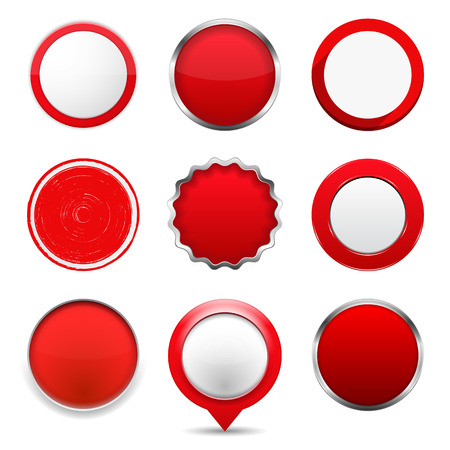 Set of red round buttons on white background Vector
