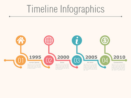 flow of colors: Timeline infographics design template with numbers Illustration