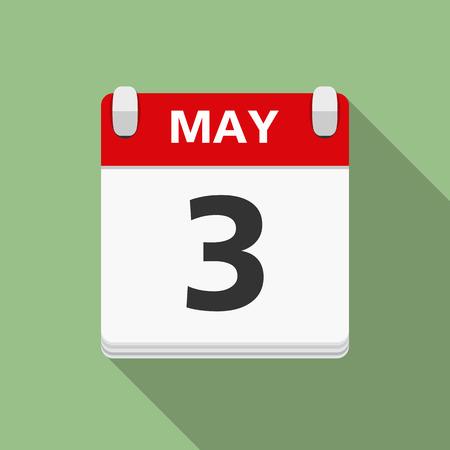 calendar icon: Calendar icon, flat design with long shadow