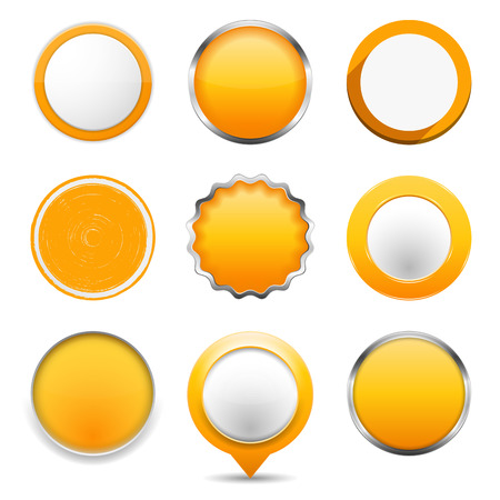Set of yellow round buttons on white background Vector