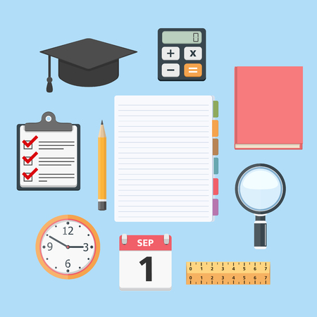 research paper: Set of different education objects, flat design