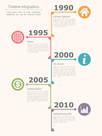 Vertical timeline infographics design template, vector eps10 illustration Vector