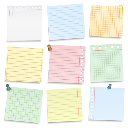 Colored notebook paper with push pins and clips, vector eps10 illustration Stock Illustratie