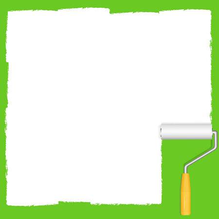 peinture blanche: La peinture blanche et rouleau sur fond vert, vecteur eps10 illustration