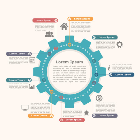 Circle infographics template with gear Illustration