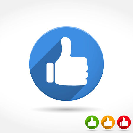 green thumb: Thumbs up icon, flat design