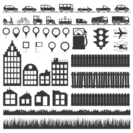 City elements collection - transport, map markers, houses and buildings, fences and grass, vector eps10 illustration Vector