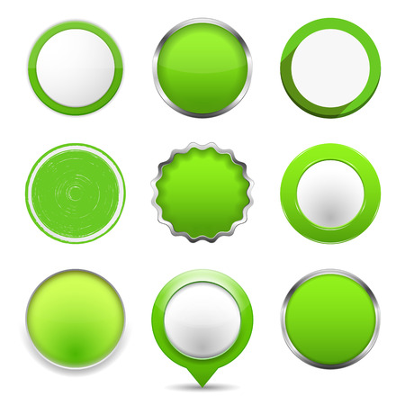 Set of green round buttons, vector eps10 illustration Vector