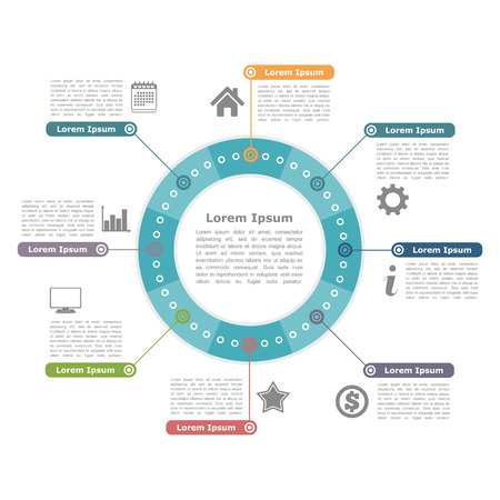 data flow: Modern circle infographics with icons and text, round diagram template