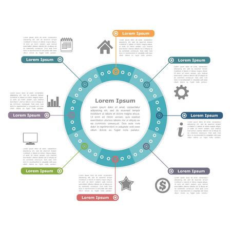 Moderne cirkel infographics met pictogrammen en tekst, ronde diagram template