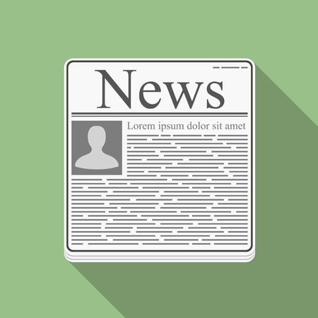Newspaper icon, flat design with long shadow Vector