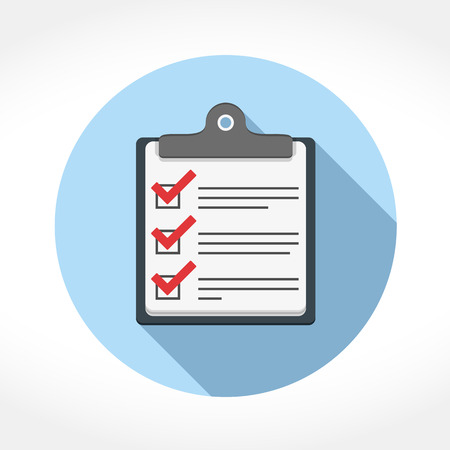survey: Check list icon in circle, flat design with long shadow, vector eps10 illustration