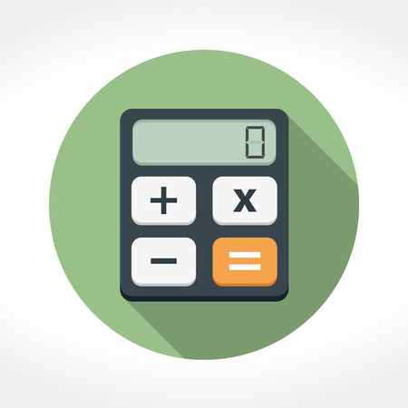 calculator: Calculator icon in circle, flat design with long shadow, vector eps10 illustration Illustration