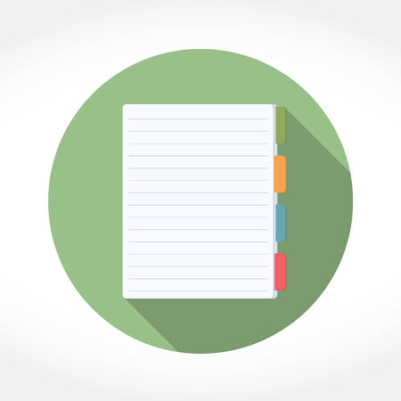 illustration notepad: Notepad icon in circle, flat design with long shadow, vector eps10 illustration