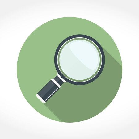 magnifying glass icon: Magnifying glass icon in circle, flat design with long shadow, vector eps10 illustration Illustration