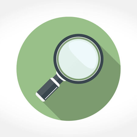 Magnifying glass icon in circle, flat design with long shadow, vector eps10 illustration Illustration