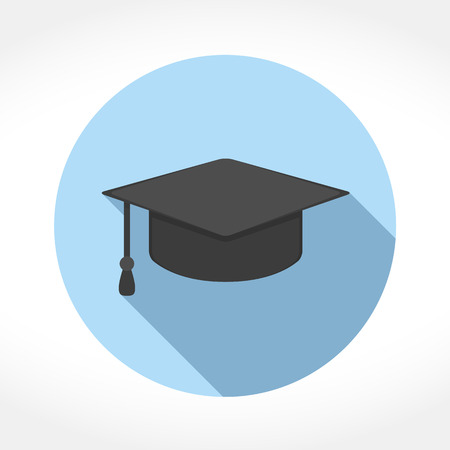 Graduation cap icon in circle, flat design with long shadow, vector eps10 illustration