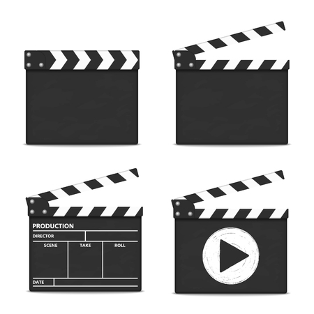 action movie: Clapper boards on white background
