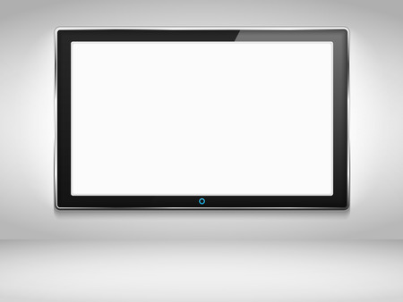 lcd display: TV hanging on the wall