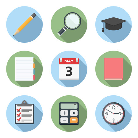 Education icons, flat design Vector