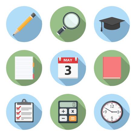 web cap: Education icons, flat design