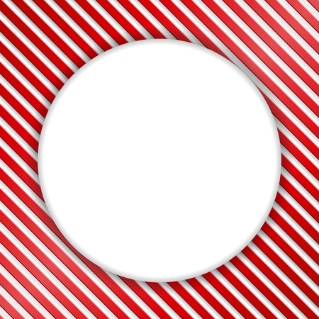 candy stripe: Blank white round banner on red and white striped background Illustration