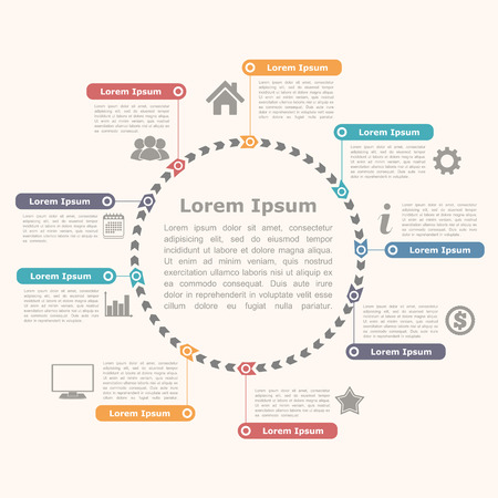Circle infographics with icons and text, round diagram template Vector