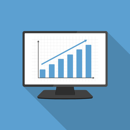 of computer graphics: Computer monitor with bar graph, flat design