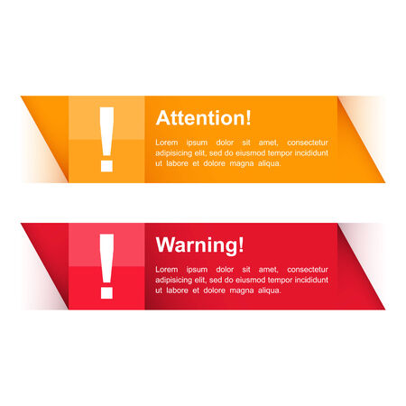 website template: Attention and warning banners with exclamation mark