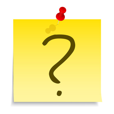 Question mark on yellow sticky note