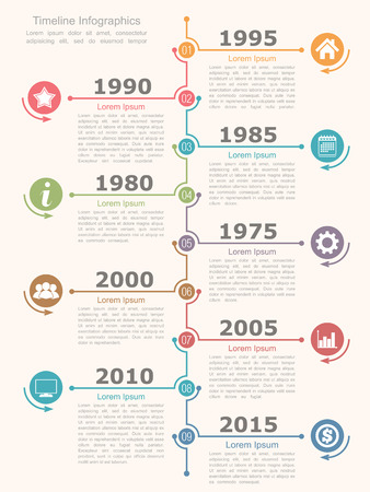 Timeline infographics design template Stock Illustratie