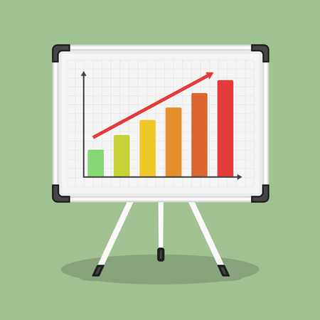 Whiteboard with growing bar graph Stock Illustratie