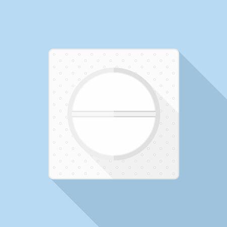 a tablet blister: White pill in a pack, flat design, vector eps10 illustration