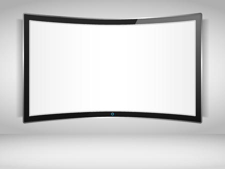 Curved TV screen on the wall Vector