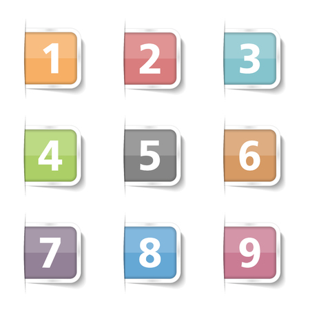 six web website: Tabs with numbers 1-9