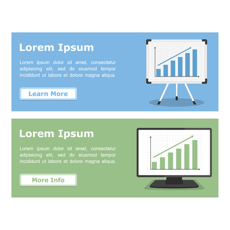 Flat banners with graphs on whiteboard and on on the screen of computer